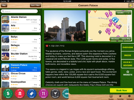 Caesars Palace details on iPad