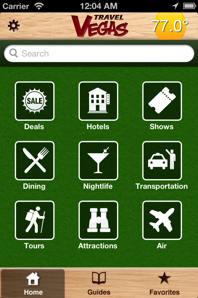 iphone TravelVegas homescreen
